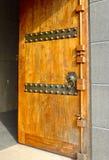 Drewniany drzwiowego kędziorka zbliżenie Fotografia Royalty Free