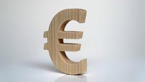 Drewniany euro symbol na białym tle Fotografia Royalty Free