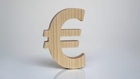 Drewniany euro symbol na białym tle Obrazy Royalty Free