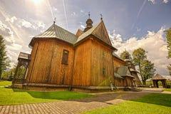 Drewniany Farny kościół Niepokalany poczęcie w Spytkowice, Fotografia Stock