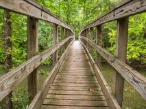 Drewniany Footbridge Nad rzeką Fotografia Royalty Free