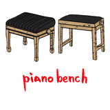 Drewniany fortepianowy ławka set Zdjęcia Stock