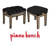 Drewniany fortepianowy ławka set Obraz Royalty Free