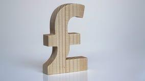 Drewniany funtowego szterlinga symbol na białym tle Obraz Royalty Free