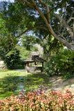 Drewniany gazebo obok stawu Fotografia Royalty Free
