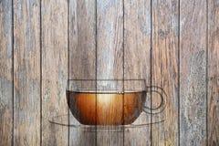 Drewniany Herbacianej filiżanki tło Zdjęcie Stock