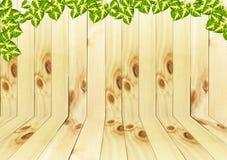 Drewniany i opuszcza tekstury tło Obrazy Royalty Free