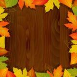 Drewniany jesieni tło Zdjęcia Royalty Free