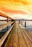 Drewniany jetty 253 jeziora chiemsee Zdjęcia Stock
