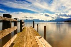 Drewniany jetty 250 jeziora chiemsee Zdjęcie Stock