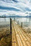 Drewniany jetty 245 jeziora chiemsee Obraz Royalty Free