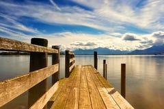 Drewniany jetty jeziora chiemsee Fotografia Royalty Free