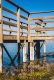 Drewniany jetty przy jeziorem, rzeka lub bagno dla, widz?w, ptasiego dopatrywanie i po??w fotografia stock
