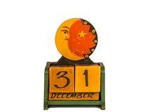 Drewniany kalendarz na białym tle Obraz Royalty Free