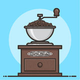 Drewniany kawowy ostrzarz z kawowymi fasolami Płaski projekt Obrazy Royalty Free