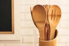 Drewniany kitchenware w kuchni Zdjęcie Stock