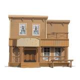 Drewniany klasyczny bar w dzikim zachodzie royalty ilustracja