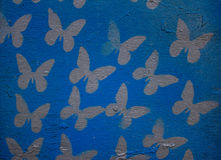 Drewniany kolorowy tło z motylami Tło Zdjęcie Royalty Free