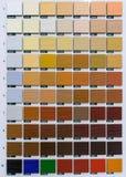 Drewniany koloru przewdonik Próbki w manufakturze fotografia stock