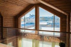 Drewniany korytarza wnętrze Obrazy Stock