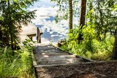 Drewniany kroka prowadzenie rzeka i molo wśród trawy i drzew, na pogodnym letnim dniu w wsi, obrazy stock