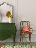 Drewniany krzesło i zieleni klatka piersiowa kreślarzi fotografia stock
