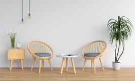 Drewniany krzesło w białym pokoju dla mockup, 3D rendering Ilustracji