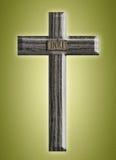 Drewniany krzyż na zielonym tle Zdjęcia Stock