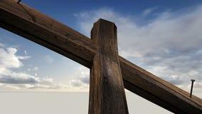 Drewniany krzyż przeciw niebu z chmurami ilustracji