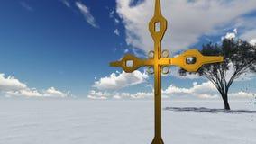 Drewniany krzyż przeciw niebu z chmurami ilustracja wektor