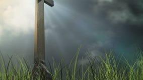 Drewniany krzyż z gras na przodzie ilustracji