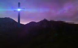 Drewniany krzyż w nocy Obrazy Royalty Free