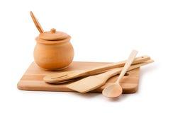 Drewniany kuchenny naczynie Zdjęcie Royalty Free