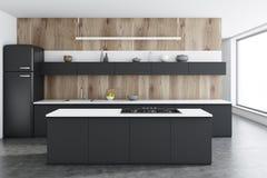 Drewniany kuchenny wnętrze, czerń kontuary, bar ilustracja wektor