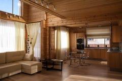 Drewniany kuchenny wnętrze Zdjęcie Stock