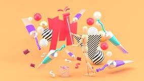 Drewniany kukiełkowy obraz wśród barwionych tubk i kolorowych piłek na pomarańczowym tle - ilustracji