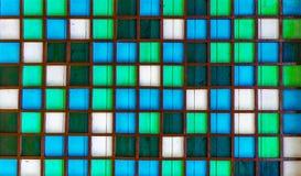 Drewniany kwadrata wzór, błękit, zieleń, biała Obraz Stock