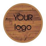 Drewniany logo również zwrócić corel ilustracji wektora Zdjęcie Stock