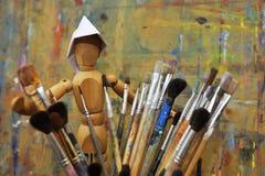Drewniany mężczyzna z paintbrush Obraz Stock