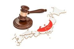 Drewniany młoteczek na mapie Japonia, 3D rendering ilustracja wektor
