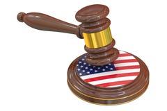 Drewniany młoteczek z flaga amerykańską Fotografia Royalty Free