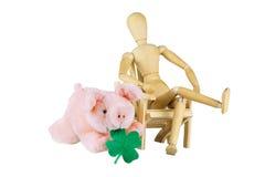 Drewniany mannequin życzy szczęście Fotografia Stock
