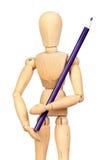 drewniany mannequin błękitny spajający ołówek zdjęcia royalty free