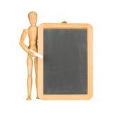 Drewniany mannequin i chalkboard Zdjęcia Stock