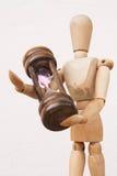 Drewniany mannequin i hourglass czasu dawać Zdjęcie Royalty Free