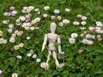 Drewniany mannequin między kwiatami na wiosna czasu ekologii i ogródu pojęciem Zdjęcie Royalty Free