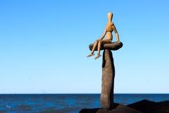 Drewniany mannequin obsiadanie Fotografia Stock