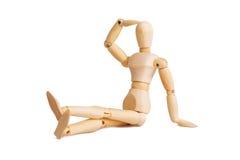 Drewniany mannequin odizolowywający na bielu Obrazy Royalty Free