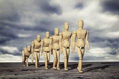 Drewniany mannequin pierwowzór ludzka ewolucja ilustracja wektor
