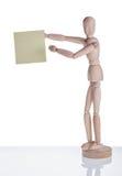 Drewniany mannequin pokazuje majcheru fotografia stock